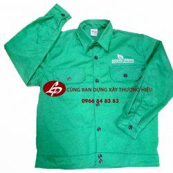 Áo bảo hộ lao động kaki màu xanh kỹ thuật chất liệu vải tốt, giá cả hợp lý